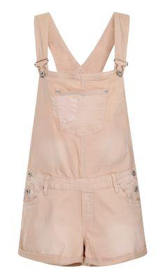 Groovy pinky-beige pastel wash denim dungaree shorts. #overalls #shortalls #dungareeshorts #dungarees