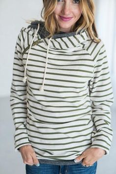 Double Hooded Sweatshirt - Olive Stripe