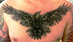 Raven Chest Tattoo