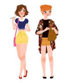 Modern Rapunzel and Anna made by Punziella.