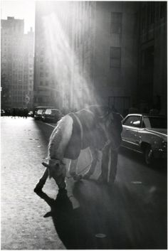 Louis Stettner  Horse and Cowboy, Rockefeller Center, NYC, 1974