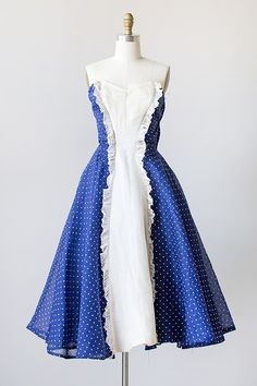 vintage 1950s blue polka dot tuxedo ruffle party dress