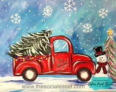Check out our individual acrylic painting tutorials here! Learn how to paint with The Social Easel Online Paint Studio easy, step-by-step, painting lessons. Dollar Store Christmas, Christmas Truck, Blue Christmas, Christmas Wreaths, Christmas Crafts, Christmas Decorations, Christmas Ornaments, Xmas, Christmas Quotes