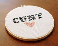 Deck your halls with embroidered curse words. Slightly NSFW.