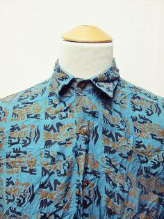 Vintage 90s Aztec Mayan Culture Indie Geometric Pattern Cool Shirt Large