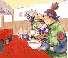 Hehe Iruka, Kakashi, and Naruto eating ramen. Kakashi seems to be hesitating to take off his mask...