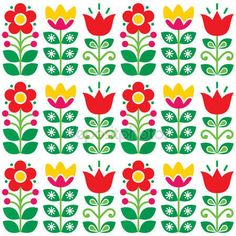 Download - Swedish floral retro pattern - traditional folk art design — Stock Illustration #140201782