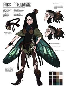Piikki Pakuri the mischievous faerie. Name is Finnish and it translates to Spike/Thine/Thorn Chaga (mushroom). Pukari is just a play with the letters and words with his last name, it describes bully-like misbehavior. He is my first rpg character...