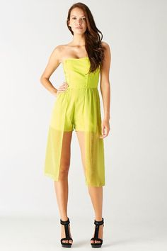 Limelight  $85.00 Strapless Romper with Luxe Top  90% Polyester, 10% Spandex  www.ClassyChickClothingOnline.com