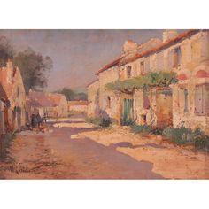 "MAURICE LENOIR  AUTOR: MAURICE LENOIR    REFERENCIA:  7106-2  ""Calle de pueblo"".    Óleo / tabla.     Medidas: 14 x 30 cm."