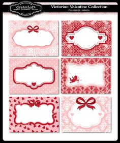 Victorian Valentine Collection Printable Cards Frames by DreAmLoft Printable Labels, Printable Paper, Printables, Card Tags, Gift Tags, Stickers, Victorian Valentines, Quilt Labels, Envelopes