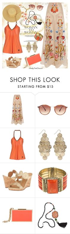 """""""Floral Maxi"""" by honkytonkdancer ❤ liked on Polyvore featuring Temperley London, Ray-Ban, Frankie Morello, Calypso St. Barth, Jack Rogers, New Look, Lanvin and Kenneth Jay Lane"""