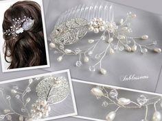 Wedding Hair JEWELRY   Bridal handmade hair comb no. 5056. Made of Swarovski crystals, pearls ...