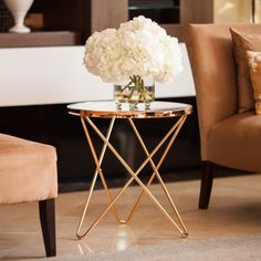 Danya B™ Tetra Clear Glasstop Round End Table with Rose Metal Frame