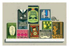 Adorable tea box illustrations by Peskimo