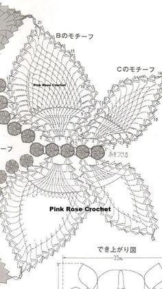 Thread Crochet, Crochet Motif, Crochet Doilies, Crochet Butterfly, Stitches, Mary, Patterns, Rose, Pink