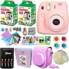 Fujifilm Instax Mini 9 Instant Camera PINK Fuji INSTAX Film 40 Sheets Accessories Kit Bundle Custom Case 4 AA Rechargeable Batteries Charger Assorted Frames Photo Album MORE ** For more information, visit image link. Instax Mini 8 Camera, Instax Film, Fujifilm Instax Mini 8, Fuji Instax, Mini Polaroid, Camara Fujifilm, Yellow Accessories, Camera Accessories, Instant Film Camera