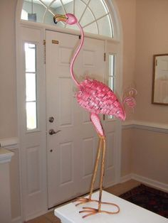 pink flamingo bird metal garden statue stake yard artlawn ornament summer decor