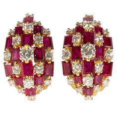 OSCAR HEYMAN Diamond and Ruby Earclips