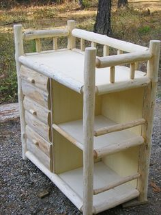 Log Baby Changing Table- This is going to be perfect in my log cabin some day.
