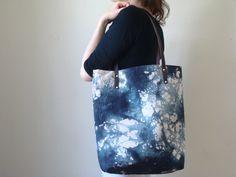 Hand Dyed Tote Carryall Weekender Bag