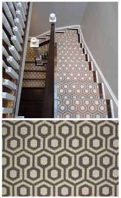The distinctive geometrical pattern of David Hicks Hexagon House creates a stunning image when installed in a stairway or hallway! The best part is that this creation is 100% wool!