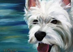"Mary Sparrow Smith from Hanging the Moon – dog art, pets, portrait, paintings, gift ideas, home decor. Westie West Highland Terrier. ""Let's Swim"""