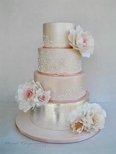 Blush and silver #wedding #cake with lace and floral details ~ Sweet Disposition Cakes