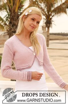 """DROPS bolero in """"Cotton Viscose"""" and """"Kid-Silk"""" with crochet borders. Size XS - XXL ~ DROPS Design  I could see the knitted in white for a bride to use."""