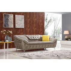 Divani Casa T762 Modern Taupe Tufted Leather Sofa Set w/ Crystals