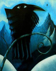 Ravens in Winter  original acrylic landscape w/ by ArtistDavidKing