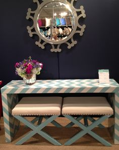 Chevron console and x benches from Article 24 located in J. Douglas Show room IHFC 319 #hpmarket