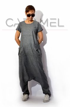 Jumpsuit/Loose Jumpsuit/Woman Jumpsuit/Drop Crotch door CARAMELfs - Women Jumpsuit - Ideas of Women Jumpsuit Low Crotch Pants, Sewing Pants, Jumpsuit With Sleeves, White Jumpsuit, Boho Fashion, Womens Fashion, Geek Fashion, Mode Hijab, Jumpsuits For Women