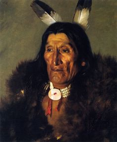 Sioux Chief in Buffalo Robes by Hubert Vos (Dutch, 1855-1935)
