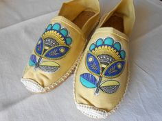 Yellow Canvas Shoes Canvas and rope shoes. Decoupage napkin. by AmeliasCrafterie on Etsy