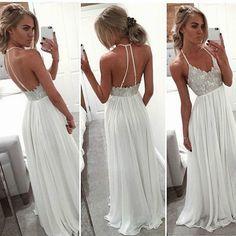 Backless boho prom dress