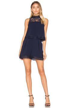 NICHOLAS Double Layer Romper in Navy