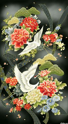 """Akahana - Cranes in Spring - 24"""" x 44"""" PANEL - Quilt Fabrics from www.eQuilter.com"""