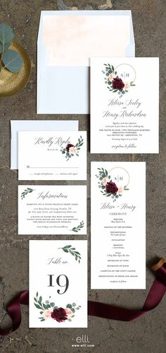 Floral Hoop wedding stationery suite with a lush floral hoop surrounding a wedding monogram. Personalize this design and change colors at Elli.com.