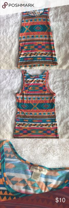 Aztec Print Tank Top (size Small) Multi-color Aztec print tank top in size Small. In perfect condition! Tops Tank Tops