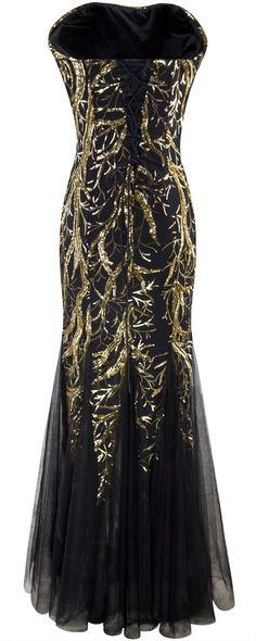 Angel-fashions Damen Ohne Arm Pailletten Baum Ast Net Meerjungfrau-Kleid-Kleid: Amazon.de: Bekleidung