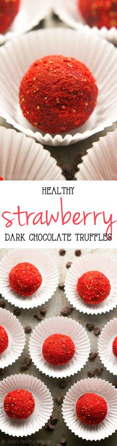 Healthy Dark Chocolate Strawberry Truffles -- only 4 ingredients & 23 calories! This easy recipe tastes so fancy, even with NO heavy cream or sugar!