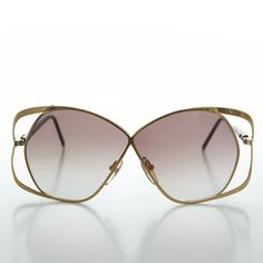 OVERSIZED VINTAGE RETRO Style Clear Lens SUN GLASSES Rare Upside Down Gold Frame