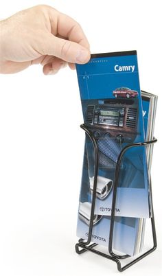 4 x 9 Brochure Holder for Tabletops, Single Pocket, Wire - Black