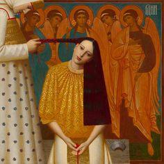 Andrei Remnev, Razdelenie kosi (The unplaiting of the hair) 1997, 100x100, oil on canvas