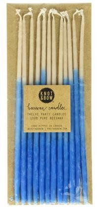 Knot & Bow Indigo Blue Hand-Dipped Ombre Beeswax Candles