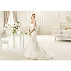volantes con solo en venta novia de y vestidos nuevos Compre Elegante falda línea de con tendencia de vestido hombro un vestidos sirena de plisado AaWIOB8