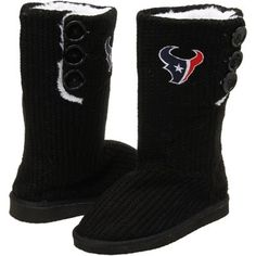 Houston Texans Ladies Knit High End Button Boot Slippers - Black