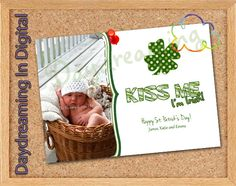 Digital File - 5x7 Kiss Me St Patricks card- Custom Personalized. $7.99