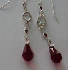 Swarovski Siam red and crystal dangle earrings by BeautyOffered, $35.00